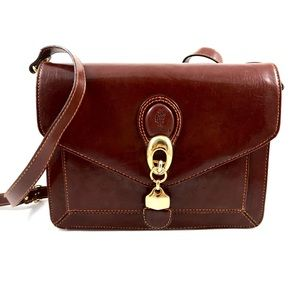 VTG MARCHINO brown leather satchel with gold